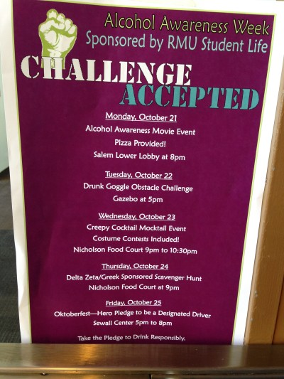 RMU accepts the challenge of Alcohol Awareness Week