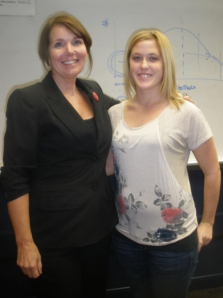 Kyle Fisher poses with the PR Society's President, Abby Porada, after Fisher's presentation on Nov. 9.