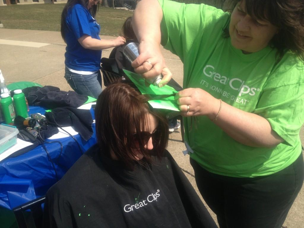 Brave+the+Shave+encouraged+students+to+dye+a+green+streak+in+their+hair+or+get+a+buzz+cut+in+support+of+the+fight+against+childhood+cancer.