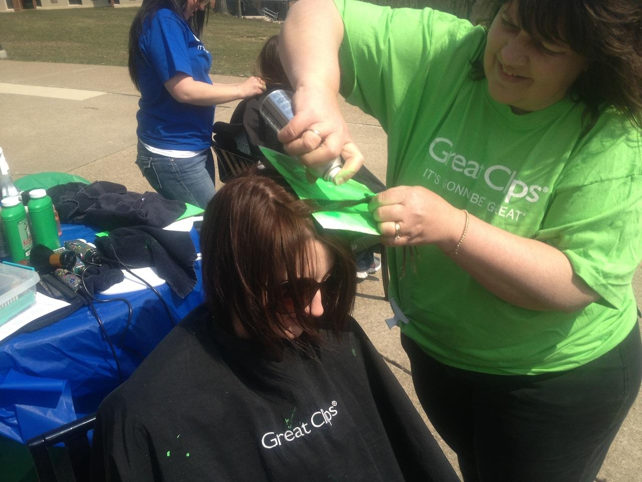 Brave the Shave encouraged students to dye a green streak in their hair or get a buzz cut in support of the fight against childhood cancer.