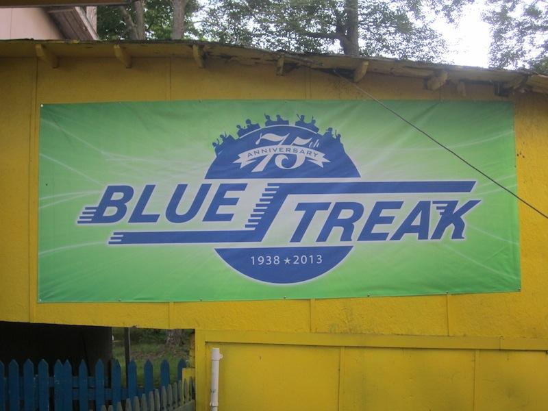 Celebrating 75 years is the Conneaut Lake Park 'Blue Streak.' The ride is considered a Roller Coaster Classic and Landmark by the American Coaster Enthusiasts.
