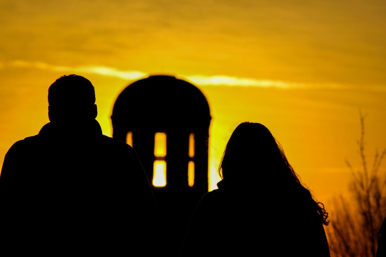 Sunset on the campus of Robert Morris University. Photo Credit: (RMU Sentry Media/Paul Wintruba)