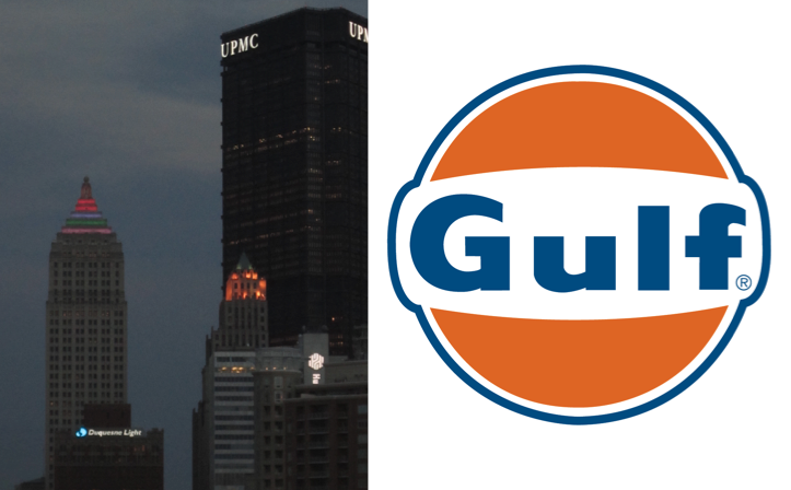 The+Gulf+Tower+%28far+left%29+is+shown+with+the+weather+beacon.++The+building+with+the+UPMC+logo+at+the+far+right+of+the+picture+is+the+U.S.+Steel+Tower.++Logo+courtesy+of+Gulf+Oil+LP