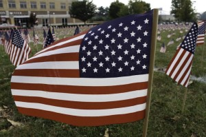 One of the over two thousand flags displayed on the Nicholson Lawn.