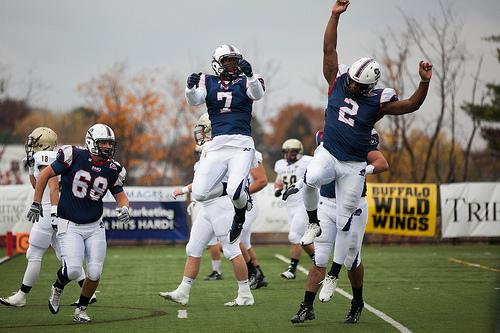 Paul Jones (2) and Duane Mitchell (7) connected for three touchdowns vs. Bryant