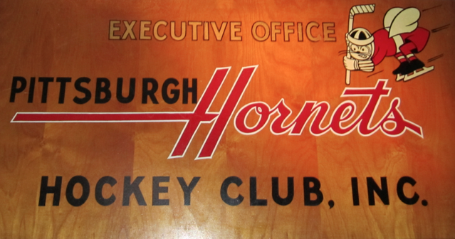 Pittsburgh Hornets sign located at the Western Pennsylvania Sports Museum inside the Senator John Heinz History Center.