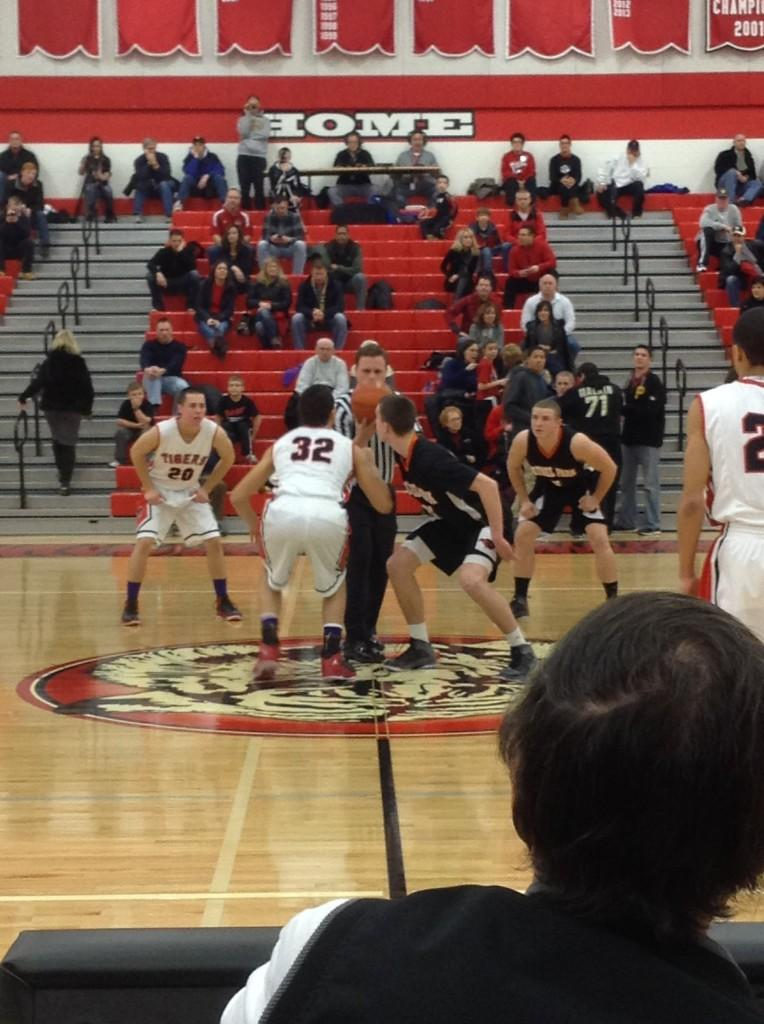 The opening tip of a WPIAL Section 4-AAAA matchup between Moon and Bethel Park Friday, January 24th. The Blackhawks prevailed 54-51.