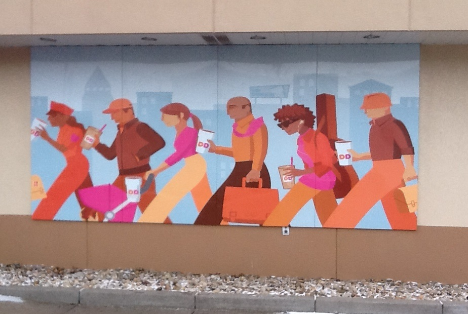 A mural outside the Moon Dunkin Donuts located just off University Boulevard exhibits the friendly environment that exists in the franchise