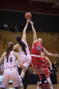 Tip off during Saturday's women's basketball game between against Sacred Heart.