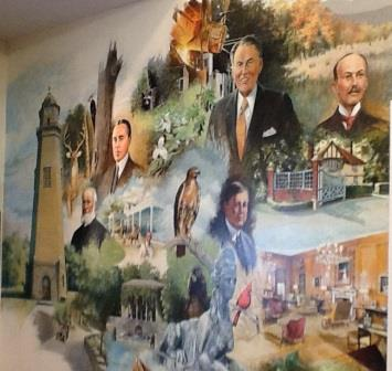 This mural depicts important historical figures in Pennsylvania's history