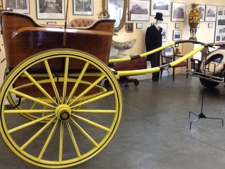 An antique carriage offers a glimpse of luxurious travel from an era gone by
