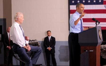 President Barack Obama addresses a gathering at CCAC West Hills on April 16.