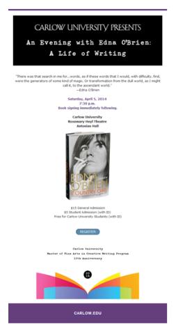 Legendary Irish writer Edna O'Brien will speak at Carlow University this Saturday, April 5.