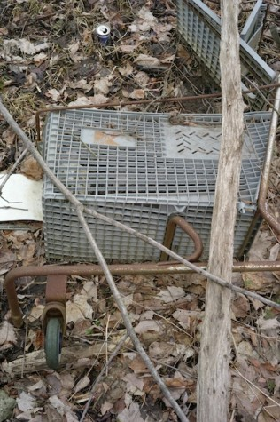 """3.One of the many shopping carts buried in the mud, sporting the slightly faded red """"K"""""""
