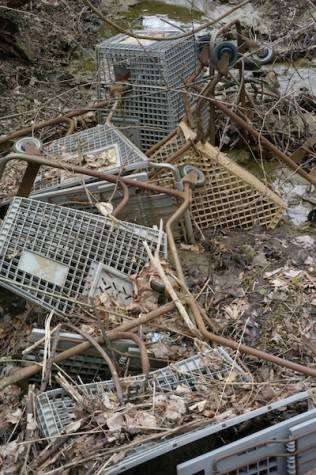 A pile of shopping carts in various stags of decay and sunken to various depths