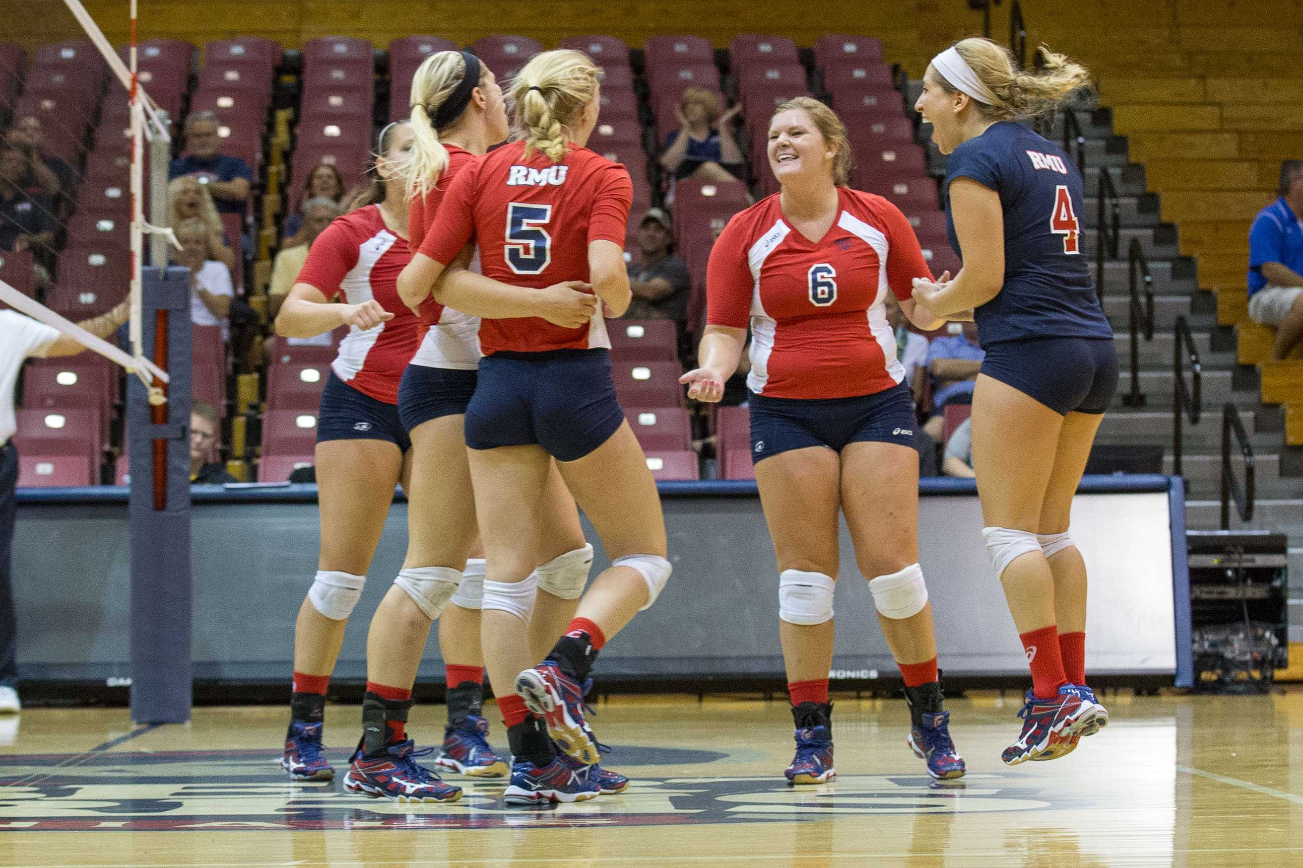 The Colonials used three straight set wins Friday night to defeat The Citadel and earn their first win of the season.