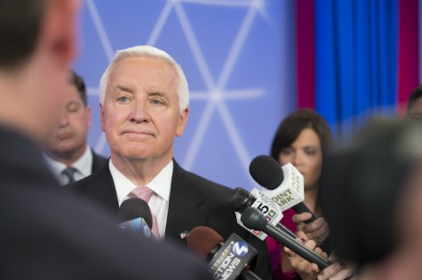 Tom Corbett at WTAE station for the last of three debates in the P.A. governor race..
