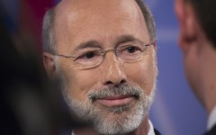 Tom Wolf  after his debate with incumbent governor Tom Corbett.