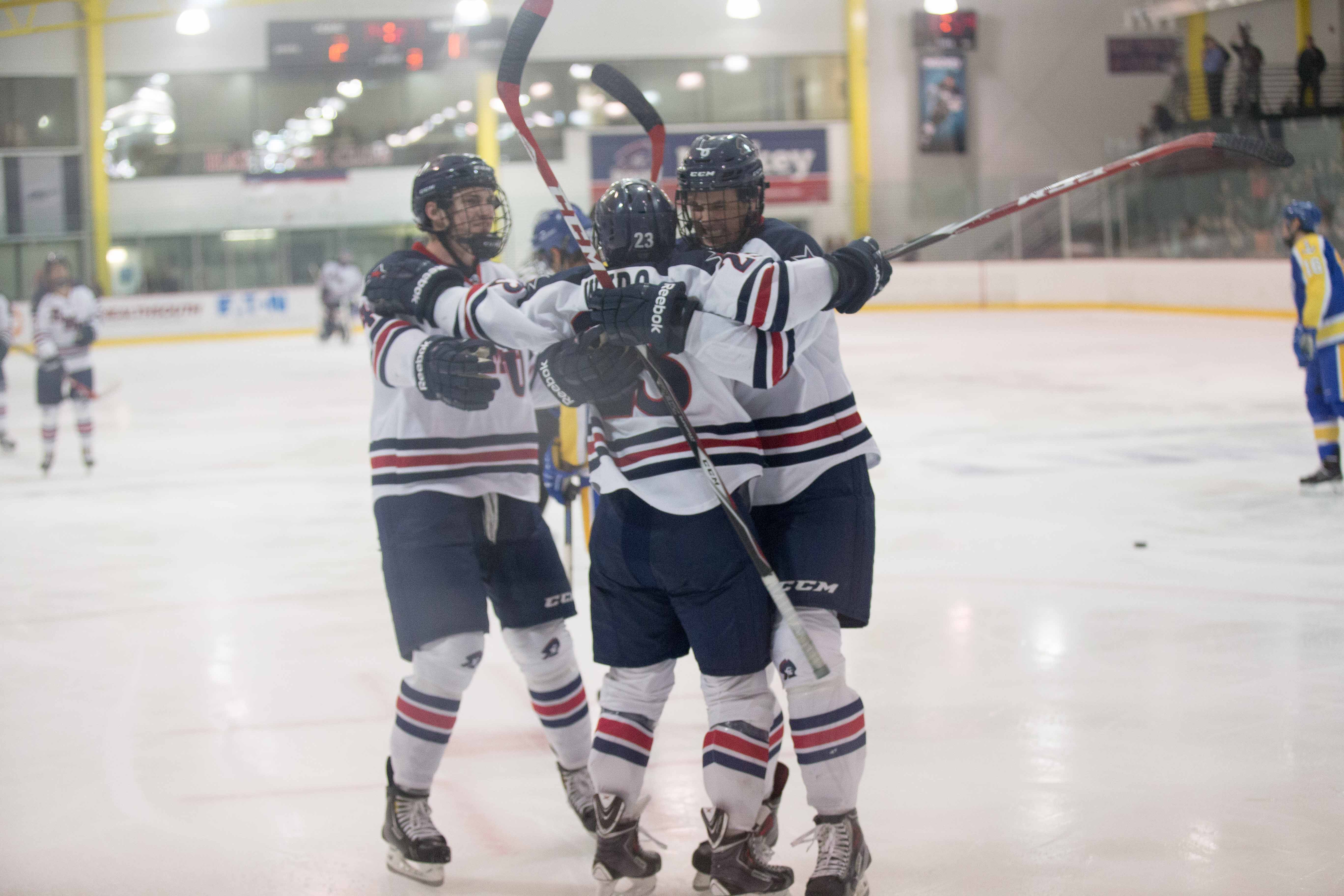 Robert Morris used a hat trick from Brady Ferguson and a 27 save performance from Francis Marotte to put away RIT Saturday night.