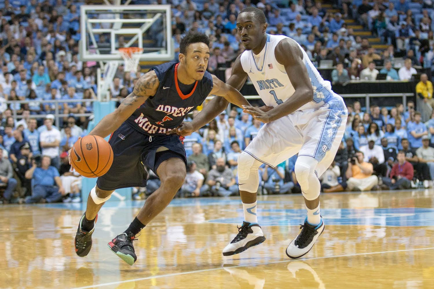 Despite a 24 point performance from Marcquise Reed, Robert Morris could not upset No. 6 ranked North Carolina Sunday night in the Battle 4 Atlantis Tournament.