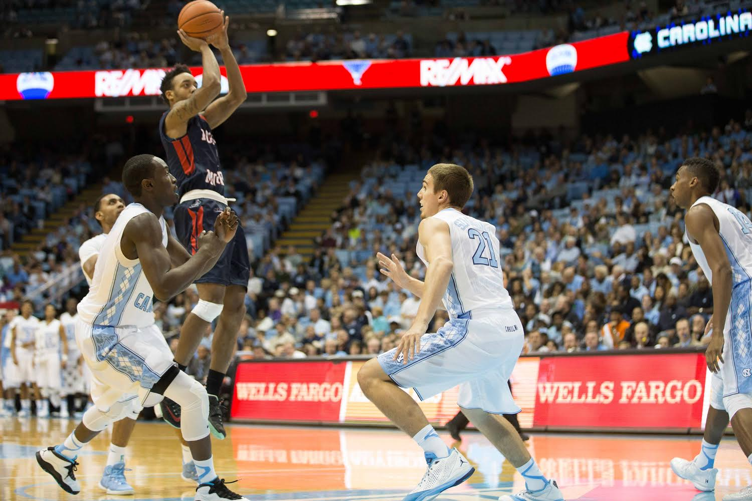 Marcquise Reed takes a jumper from the top of the key at the Dean E. Smith Center against North Carolina Sunday night.