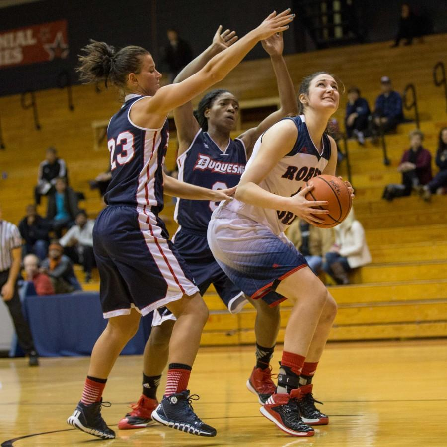 Judith Sole's double-double was not enough to lift RMU over rival Duquesne Sunday afternoon.
