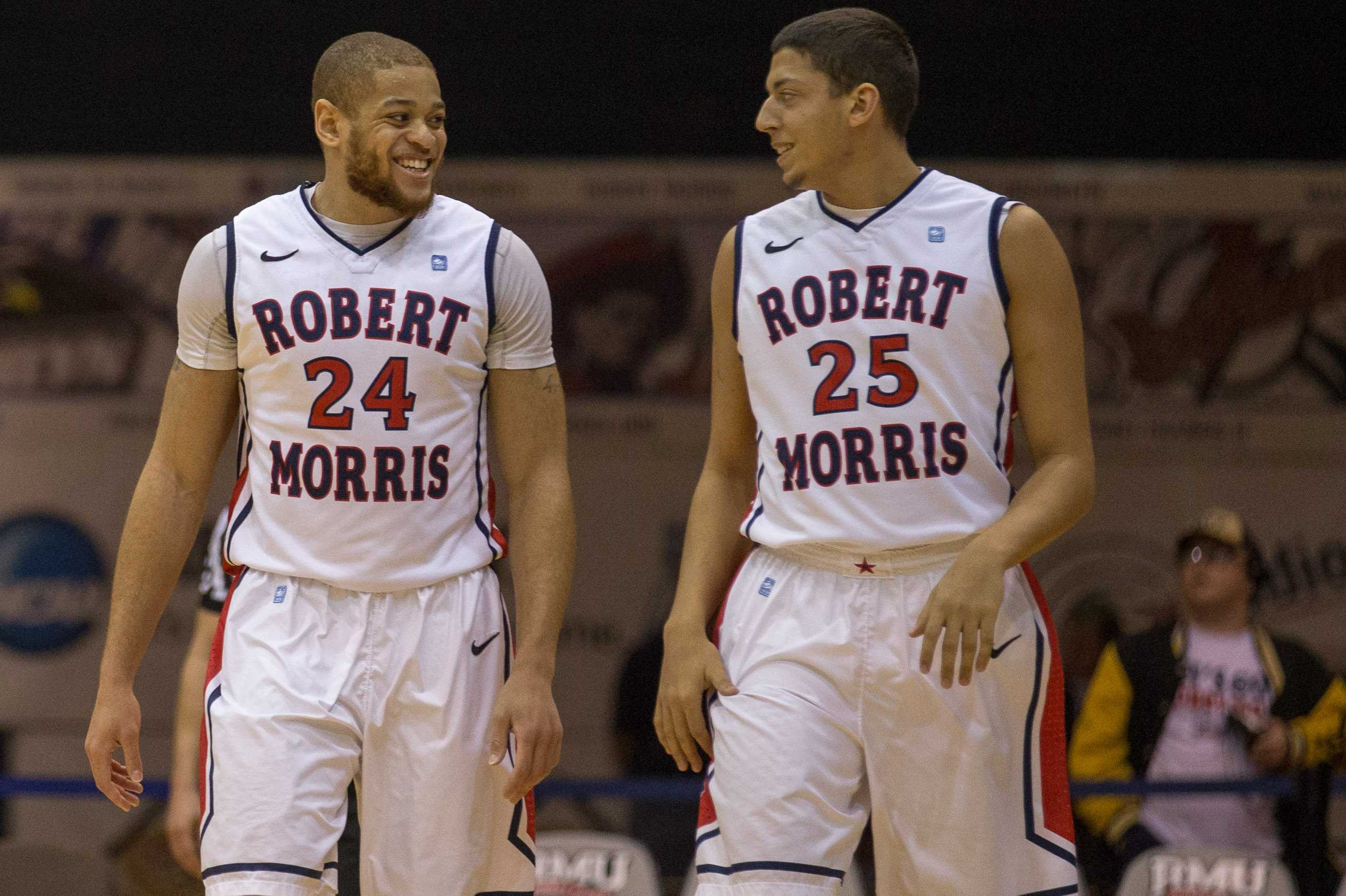 Conrad Stephens (right) received his first playing time in an RMU uniform during the Colonials' 22 point win over FDU.