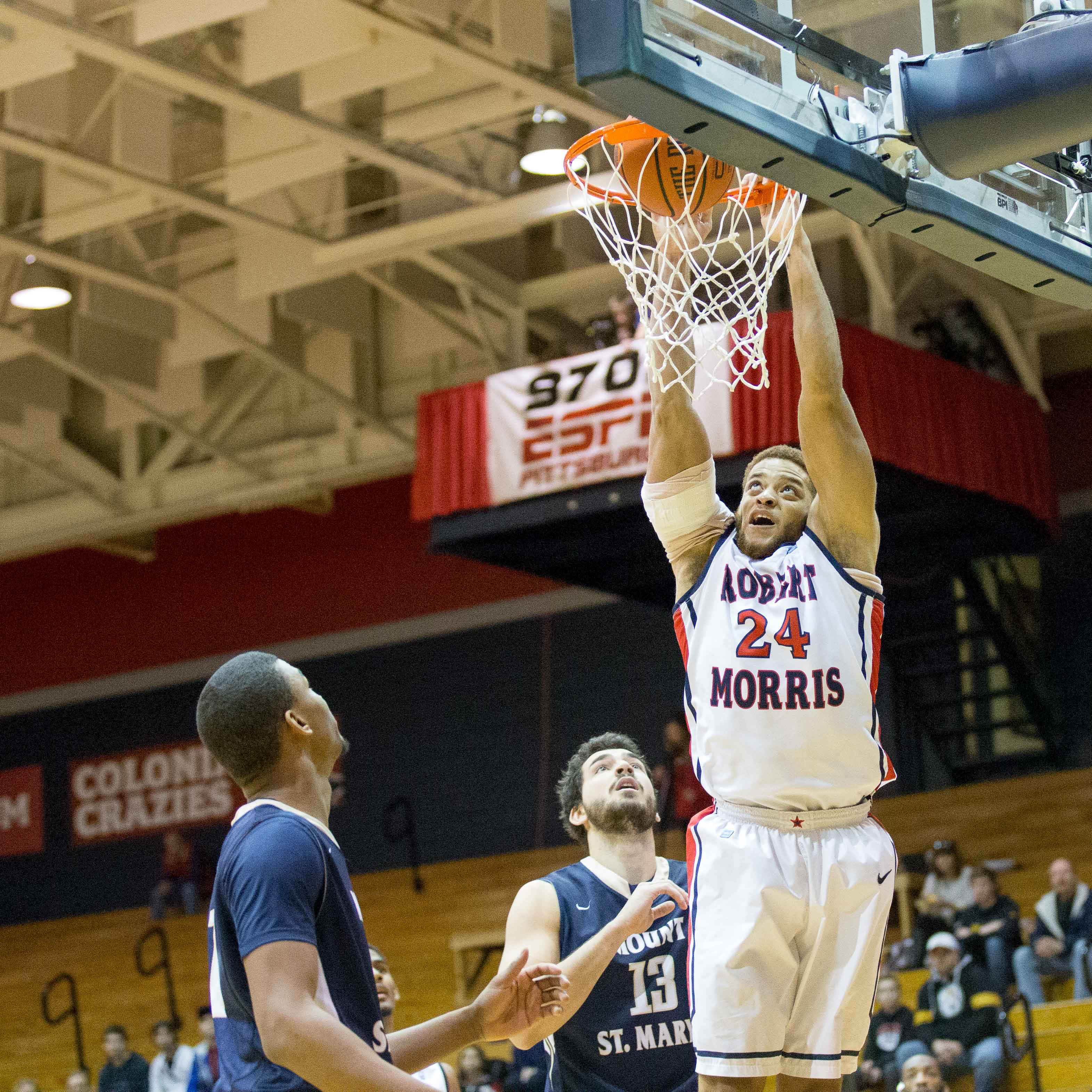 Aaron Tate contributed eight points, four rebounds and three assists in RMU's 25 point win over Mount St. Mary's Saturday.