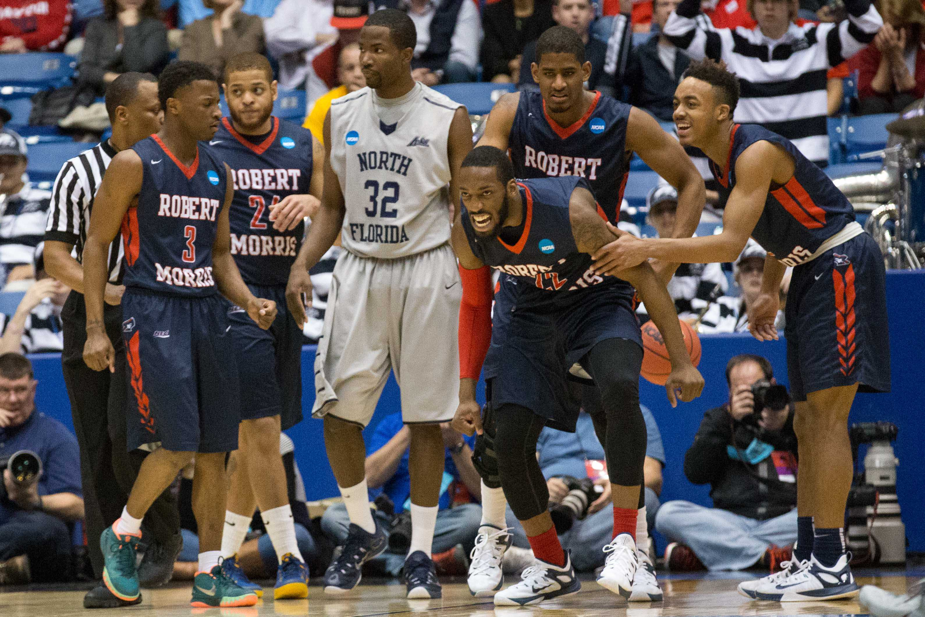 Lucky Jones lets out a roar of excitement after RMU's opening round win over North Florida.
