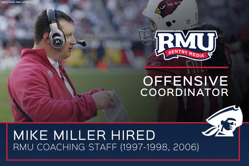 Mike+Miller+welcomed+back+to+RMU+Football+as+Offensive+Coordinator