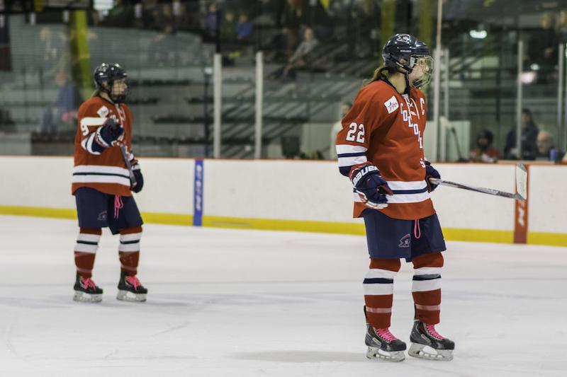 Captain Ashley Vesci, one of three Colonials who played their last regular season home game vs. RIT.