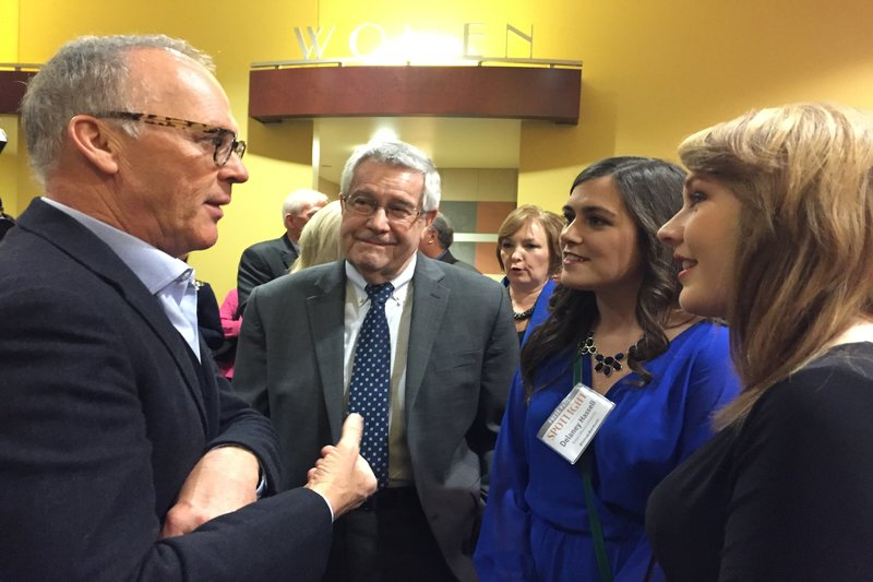 RMU Sentry Media News Editor Delaney Hassell and Editor-in-Chief Hannah Smith alongside Provost David Jamison talking with