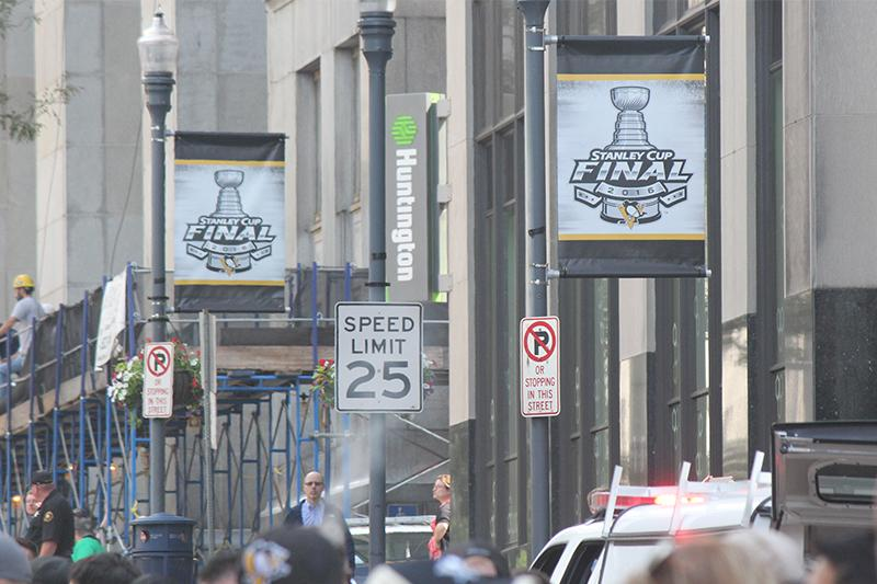 Stanley+Cup+Final+flags+line+the+streets+of+downtown+Pittsburgh.