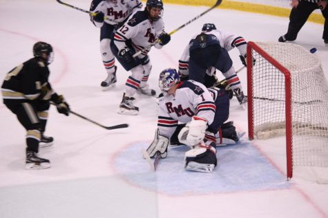 Francis Marotte readies to make save against Mercyhurst
