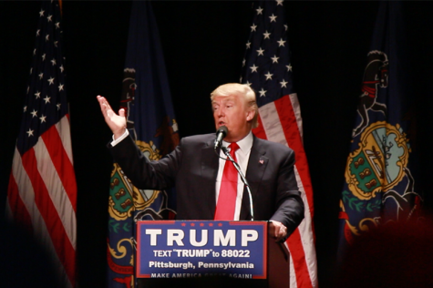Donald Trump at speaking in Pittsburgh in April 2016. RMU Sentry Media's Eddie Sheehy attended the rally. Photo credit: Eddie Sheehy