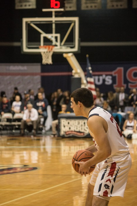 Matty+McConnell+recorded+20+points+Wednesday+evening+helping+the+Colonials+move+on+to+the+NEC+Tournament+Semifinals.