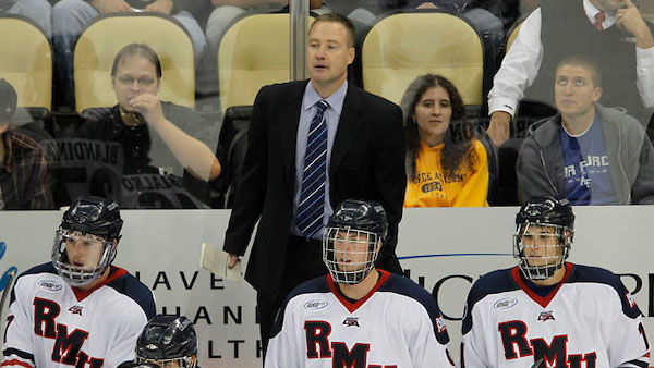 Robert Morris head coach Derek Schooley. RMU men's hockey vs. Air Force at PPG Paints Arena. Photo by Jason Cohn from USCHO.com