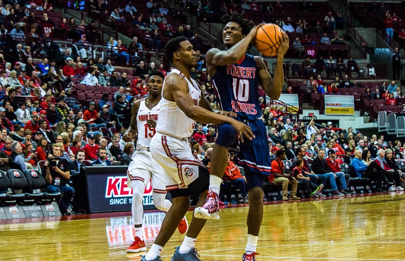 Thomas and McConnell shine as Colonials fall to Ohio State 95-64