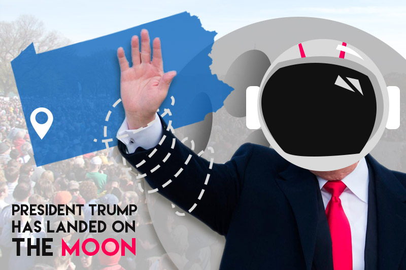 President Trump Has landed on the Moon Graphic