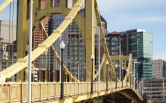Roberto Clemente bridge with downtown Pittsburgh in the background.