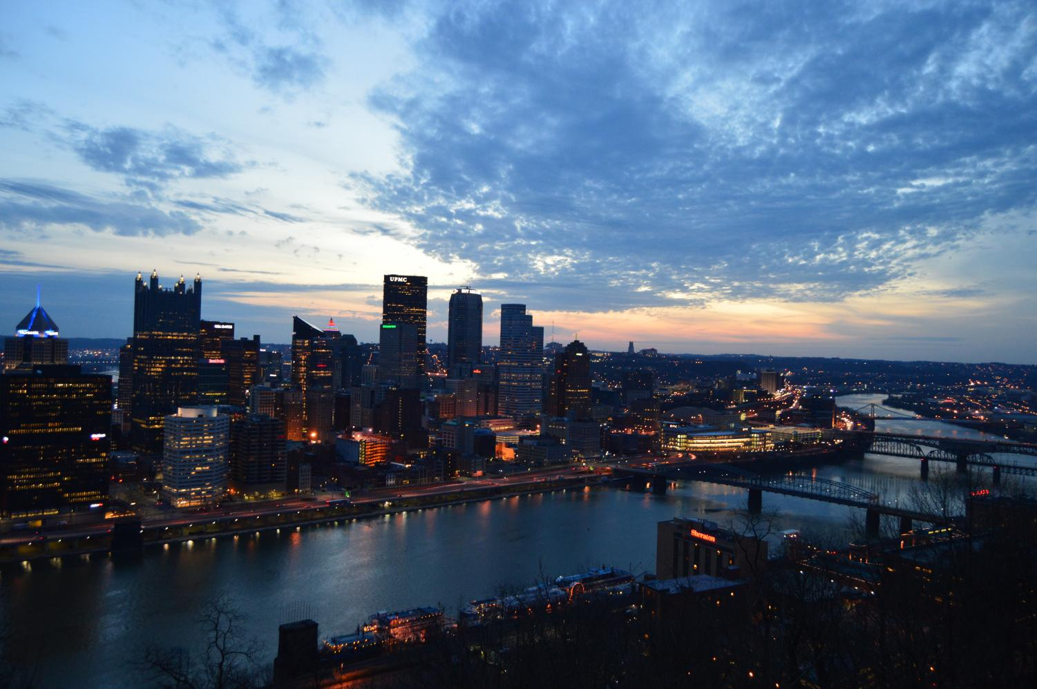 Sunrise from Mt. Washington in Pittsburgh on April 13, 2018.