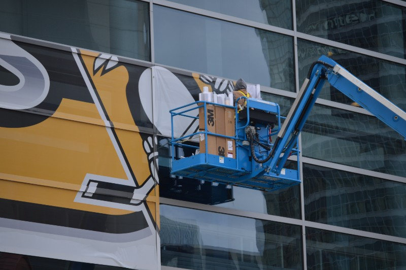 PPG Paints Arena get a facelift in preparation for the 2018 Stanley Cup Playoffs.