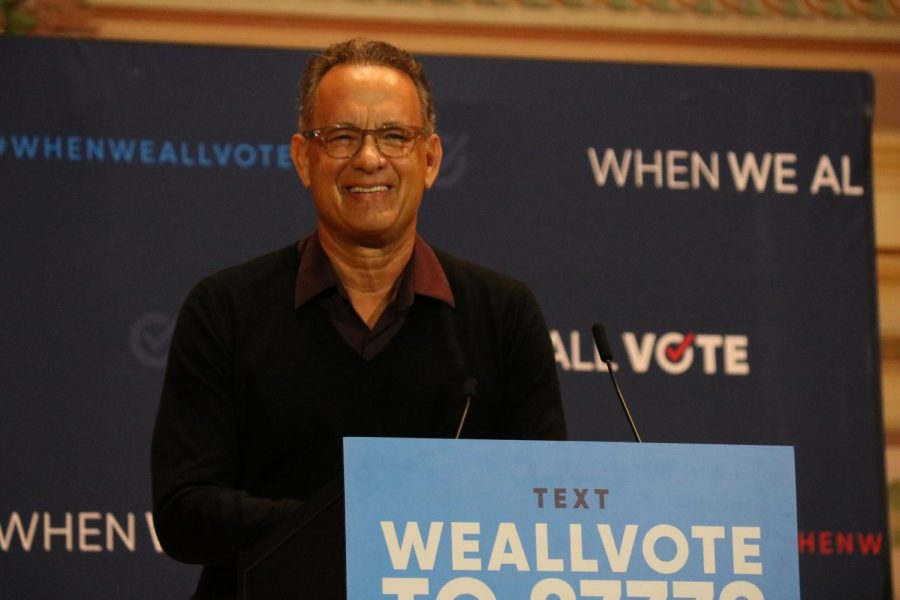 Tom+Hanks+speaks+at+When+We+All+Vote+rally.