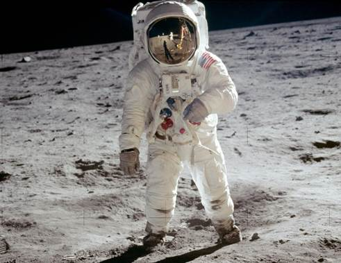 The Smithsonian's Destination Moon: The Apollo 11 Mission exhibition at the History Center will explore Apollo 11 mission, the birth of the American space program, the space race, and its Western Pennsylvania connections beginning on Sept. 29. Pictured: Astronaut Buzz Aldrin walks on the surface of the Moon near the leg of the lunar module Eagle during the Apollo 11 extravehicular activity (EVA). (Photo courtesy of NASA)