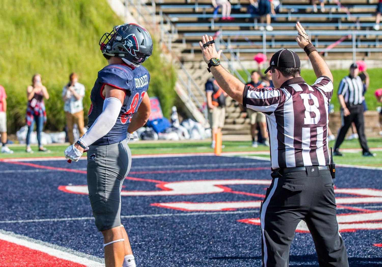 Mathew Gonzalez celebrates a touchdown against CCSU Oct. 6, 2018. Gonzalez is currently having a historic season with 10 touchdowns.