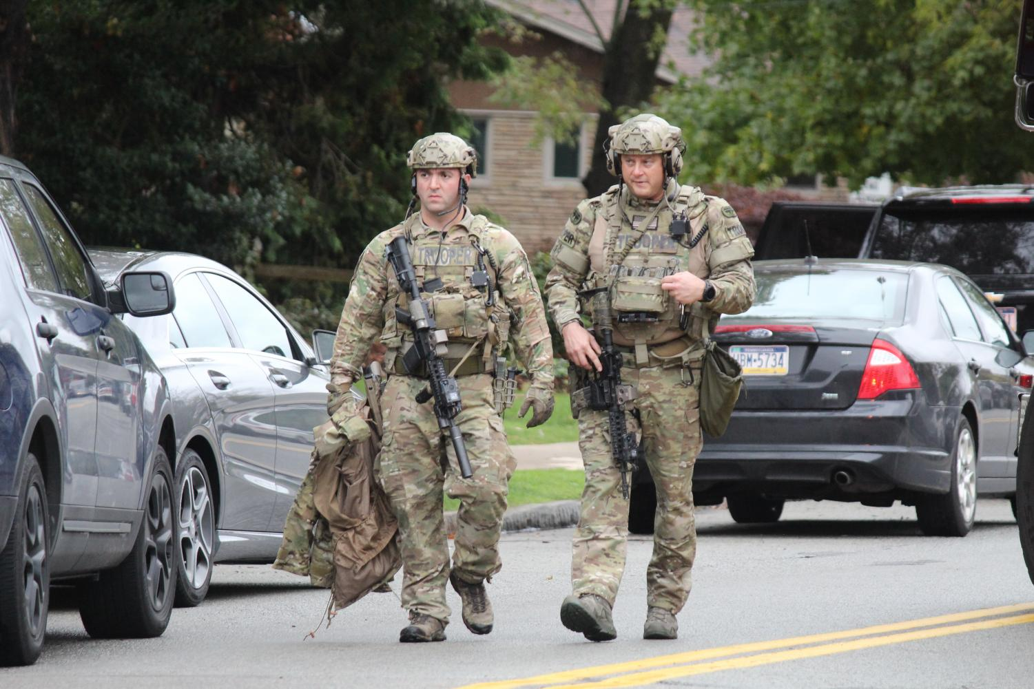 Pittsburgh FBI, S.W.A.T., police, paramedics, and Pennsylvania State Troopers were all at the Tree of Life Synagogue in Pittsburgh during a mass shooting October 27, 2018.