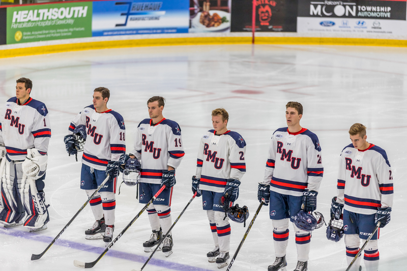 A moment of silence was held before the RMU-RIT game on Saturday in remembrance of those lost in the day's mass shooting in Squirrel Hill