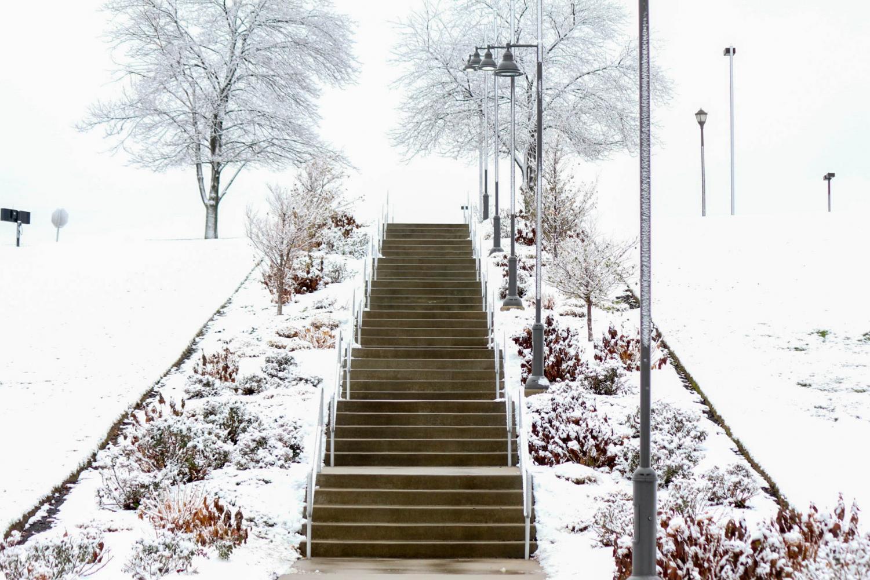 Snow blankets Robert Morris University campus.