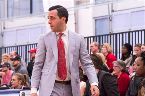 RMU women's basketball head coach Charlie Buscaglia looks on during a game against Youngstown State. Moon Township, PA (RMU Sentry Media/Samuel Anthony)