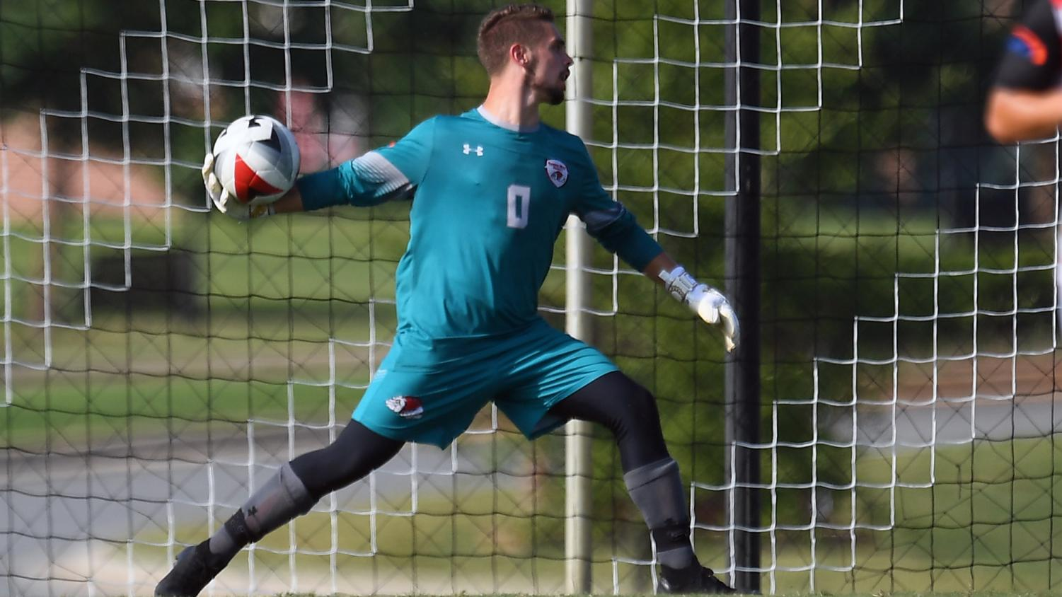 Former Gardner-Webb goalkeeper Grant Glorioso in action for the Bulldogs. Boiling Springs, N.C. (GWUPhotos.com/Tim Cowie)